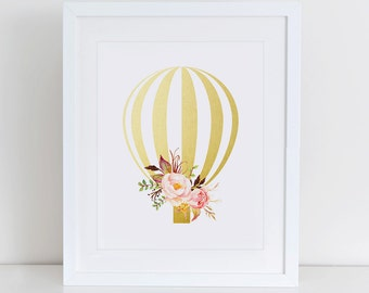 Hot Air Balloon Art Print, Balloon Nursery Art Print, Instant Download, Nursery Art Print, Nursery Wall Decor, Balloon Gold Foil