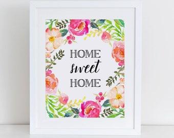 Quote wall art printable home sweet home print wall art decor - Home sweet home decorative accessories ...