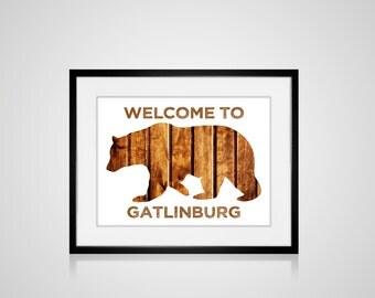 CUSTOM PRINTABLE GATLINBURG, Tennessee Cabin Welcome Bear Smoky Mountains Art Print Home Decor Personalized Skiing Ski Lodge