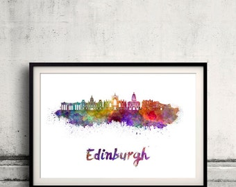 Edinburgh skyline in watercolor over white background with name of city - Poster Wall art Illustration Print - SKU 1891