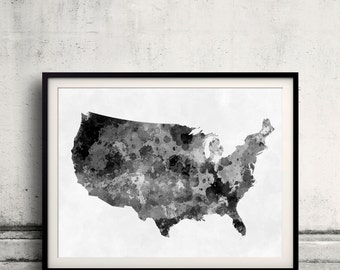 United States map in black watercolor painting abstract splatters - Fine Art Print Glicee Poster Gift Illustration Colorful USA - SKU 0710