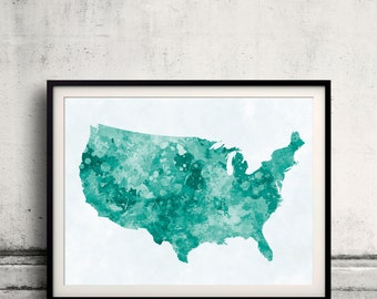 United States map in green watercolor painting abstract splatters - Fine Art Print Glicee Poster Gift Illustration Colorful USA - SKU 0712
