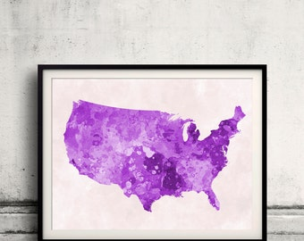 United States map in purple watercolor painting abstract splatters - Fine Art Print Glicee Poster Gift Illustration Colorful USA - SKU 0715