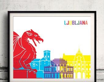 Ljubljana pop art skyline 8x10 in. to 12x16 in. Fine Art Print Glicee Poster Gift Illustration Pop Art Colorful Landmarks - SKU 0722