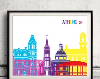 Athens Oh pop art skyline 8x10 in. to 12x16 in. Fine Art Print Glicee Poster Gift Illustration Pop Art Colorful Landmarks - SKU 1161