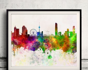 Tianjin skyline in watercolor background - Poster Digital Wall art Illustration Print Art Decorative - SKU 1354