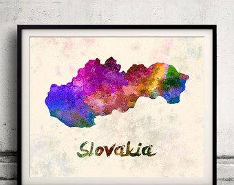 Slovakia - Map in watercolor - Fine Art Print Glicee Poster Decor Home Gift Illustration Wall Art Countries Colorful - SKU 1707