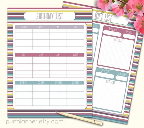 Birthday tracker gift ideas list printable template by for Birthday gift list template