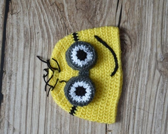 MINION BABY HAT - Photo Prop - Baby hat - Crochet baby hat - Photo Session