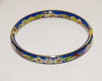 Vintage Cloisone Hinged Cobalt Pink & Blue Flowers Bangle Bracelet.
