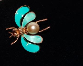 Vintage Gold Tone Blue Enamel Pearl Bee Brooch.