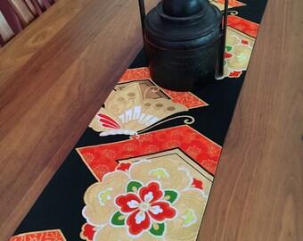Vintage Japanese Obi Table Runner - Black / Gold / Red - 105cm x 30cm