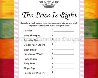 Baby Shower Game, The Price is Right, Shower Game, Princess Crown, Pink and White, Printable, Instant Download - BBS4