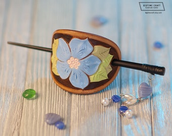 sky blue flower,turquois flower,five petal flower,blue flower barrette,wildflower barrette,nature barrette,Floral Collection (BR017)