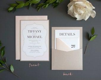 Elegant Love Wedding Invitation SAMPLE, Panel Pocket, Blush and Taupe