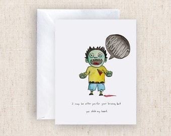 Zombie Watercolor Hand painted Greeting Card Print