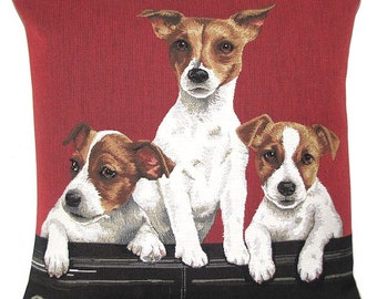 Jack Russel Pillow Cover - Jack Russell Gift - 18x18 Belgian Tapestry Pillow - Jazck Russell pups - PC-5343