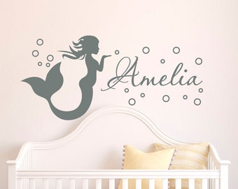 Mermaid Wall Decal Girl Name Decals Vinyl Stickers- Girl Nursery Wall Decal Personalized Name- Mermaid Girls Kids Baby Room Wall Decor M070