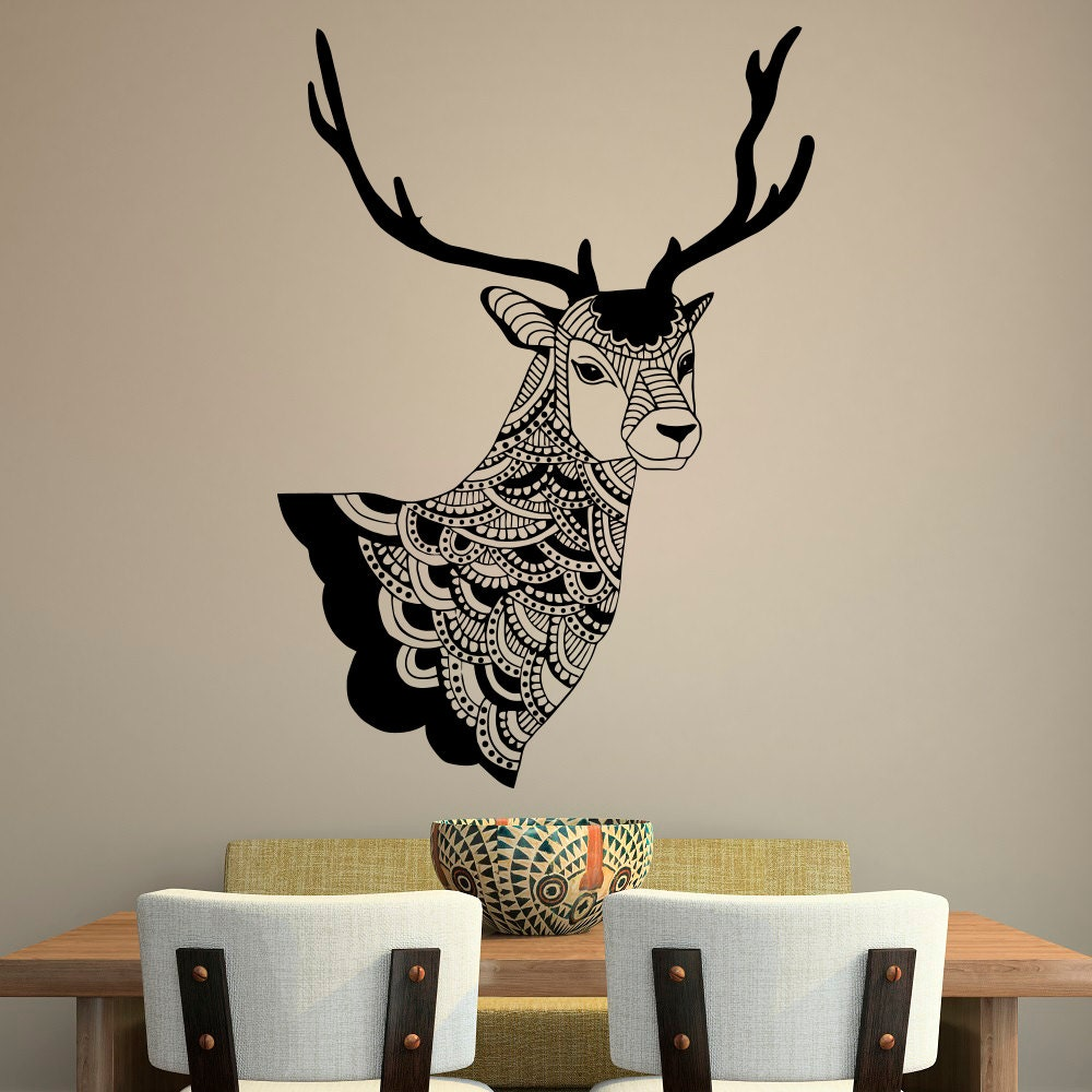 Deer wall decal country wall decals vinyl by fabwalldecals for Deer wall mural