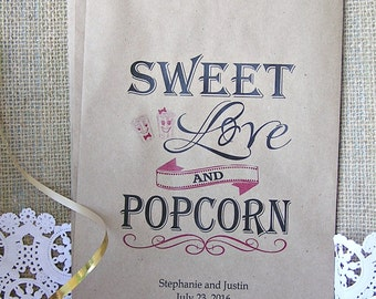 Personalized Wedding Popcorn Bar Bags - Popcorn Bags Wedding - Popcorn Bar - Sweet Love -  24 BAGS -  POP-03a