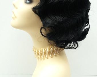 1920's Style Short Black Finger Wave Wig. Vintage Style Costume Wig. [02-10-Rosie-1]