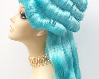Alternative Sky Blue Marie Antoinette Costume Wig. Colonial Style Wig.[19-125-Marie-LBlue]