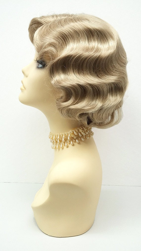 1920 S Style Short Dirty Blonde Finger Wave Wig By