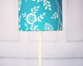 Lampshade, lamp shade, bedside lamp, table lamp, drum lampshades, floral décor, fabric lampshade, flower décor, blue lamp shade, large lamps