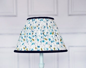 Blue and White Butterfly Hand Stitched Pleated Lampshade Fully Lined White Blue Butterflies Cotton Lamp Shade