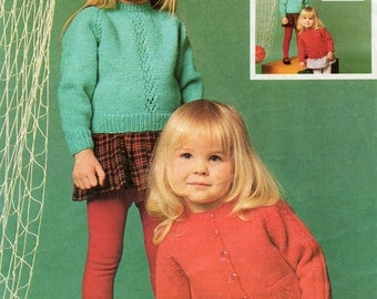 Child and Toddler Knitting Pattern - Sweater and Cardigan - 20 to 24 inches - DK Yarn