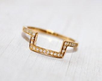 Diamond Gold Ring, Half Square Ring, Geometric 14K Gold Ring, Square Gold Ring, Wedding Gold Ring, Diamond Bar Ring, Stacking Gold Ring