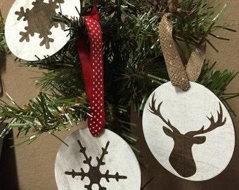 Christmas Ornament - Set of three Christmas ornaments - Wood Ornament - Christmas Decor - Rustic Christmas Ornament - Wood Gift Tag
