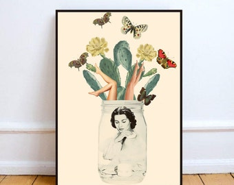 """Cactus print, surreal collage art, surrealism, cactus wall art, cactus poster, home decor wall art, mixed media collage art """"Jars of beauty"""""""
