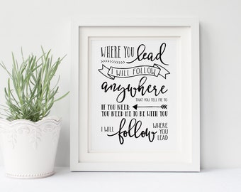 "Gilmore Girls Poster- Where You Lead Lyrics- DIGITAL Print 8x10"", I Will Follow, Lorelai Gilmore, Rory Gilmore, Gallery Wall, Gift for Her"