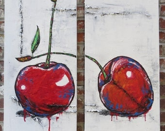 Original palette knife painting Impasto Dyptich Still life fruit Cherries Colorful texture Red Blue White Modern