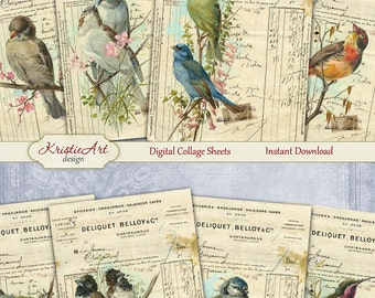 75% OFF SALE Deliquet - Digital Collage Sheet Digital Cards C121 Printable Download Image Digital Atc Card ACEO Birds Cards
