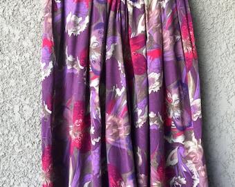 Purple floral Way of Life wide leg crop pants