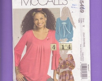Boho, Pleated Front, Long sleeve Top Tunic, Blouse/ McCalls 5469 Loose, Scoop Neck, Gathered Top UnCut Sewing Pattern/ Size 4 6 8 10 12 14