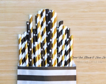 New Year's Eve Decorations Black, Gold Foil, Stars Paper Party Straws, Masculine Birthday, Graduation Decor, Boy Baby Shower Dessert Table