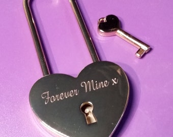 Engraved Large Gold Heart Personalised Padlock with Key (45mm Extra Long Shackle)/ Can be engraved front & back