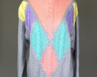 Vintage 80s, 90s Knit Sweater // 1980s, 1990s, Pastel Colors, Turtleneck, Ugly Sweater Costume, Unisex