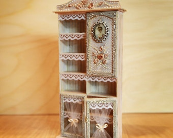 Miniature Cabinet 1/12 , Dollhouse Miniature, miniature furniture, Diorama