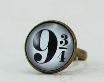 9 3/4 Ring, Platform Nine and Three-Quarters Ring, Harry Potter Ring, Harry Potter Jewelry, Hogwarts Jewelry, Harry Potter Fandom Ring