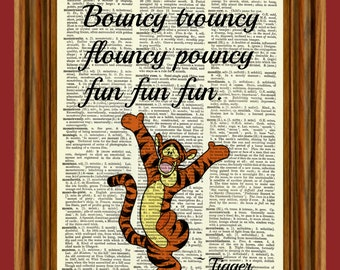 "Tigger ""Winnie the Pooh"" Upcycled Dictionary Art Print Poster Quote"