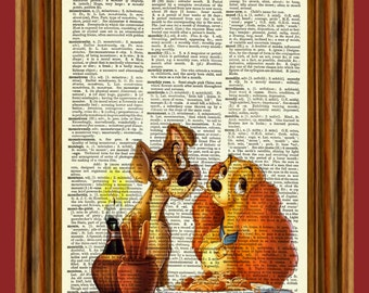 Lady and the Tramp Upcycled Dictionary Art Print Poster