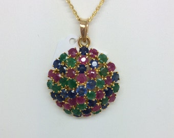 14K Yellow Gold Multi-Color Stones Pendant