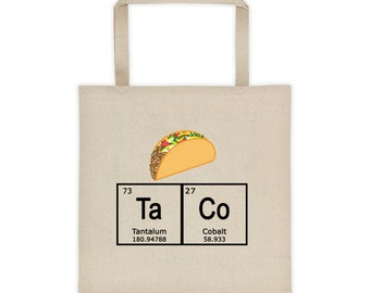 Periodic Table of the Elements TACO Tote Bag Environmentally Friendly Reuseable Market Bag Canvas Eco-Friendly shopping grocery 1042