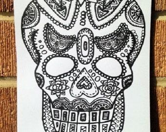 Skull illustration hand screen printed print