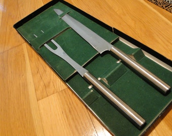Vintage Carving set with original box circa 1970's stainless steel fork and knife kitchen knife