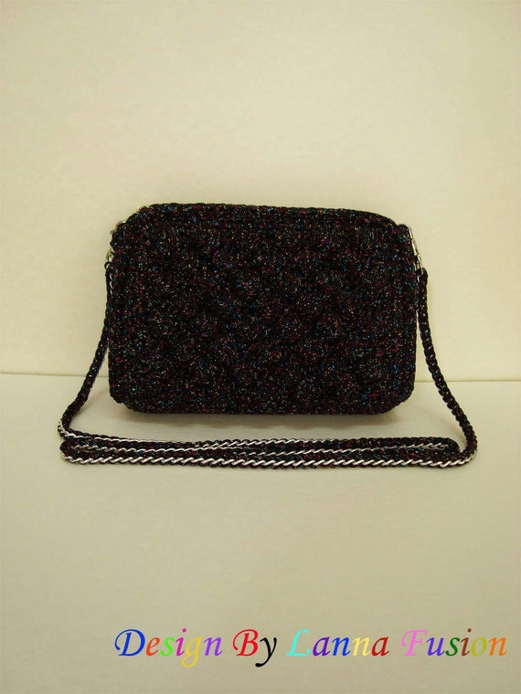 Crochet Handle For Purse : Black Crochet Handle bags Black Handbag Black Handbag Black Purse ...